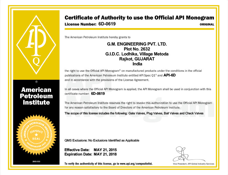 Certificate of Authority to Use Official API Monogram